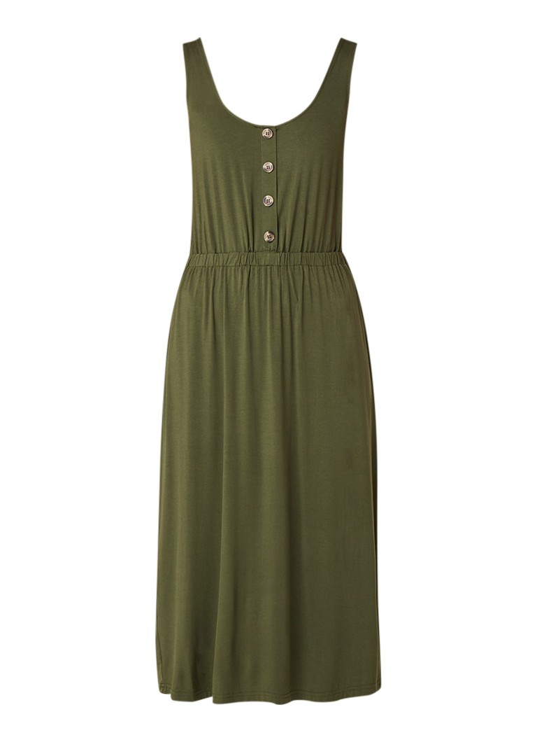 Warehouse Midi-jurk met decoratieve knopen legergroen