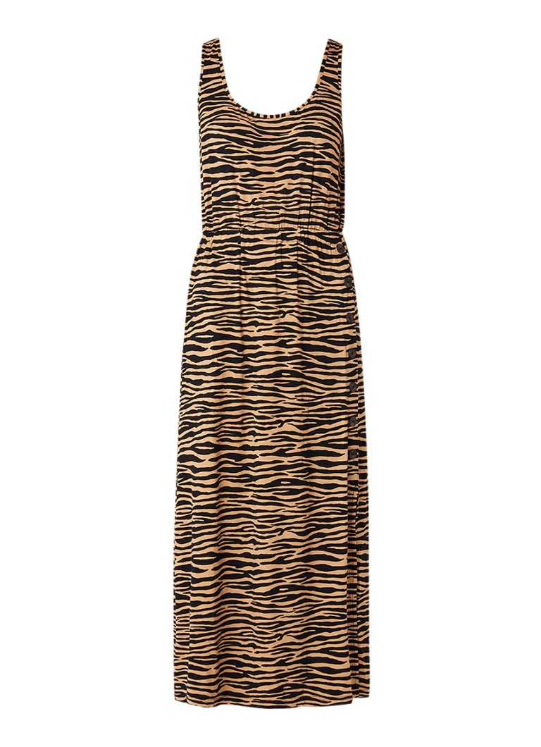 Warehouse Maxi-jurk van jersey met tijgerprint bruin