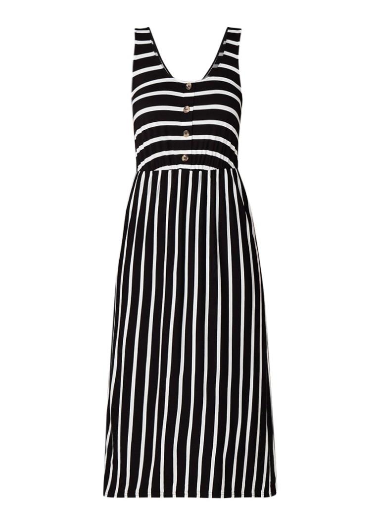 Warehouse Mouwloze midi-jurk van jersey met streepdessin zwart