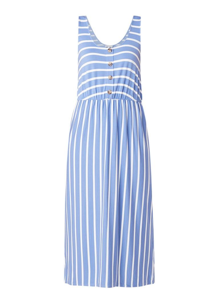 Warehouse Mouwloze midi-jurk van jersey met streepdessin blauw