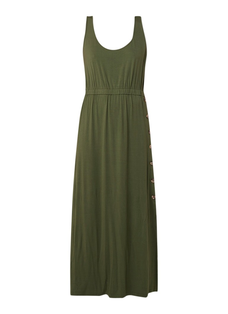 Warehouse Maxi-jurk met stretch en knoopsluiting khaki