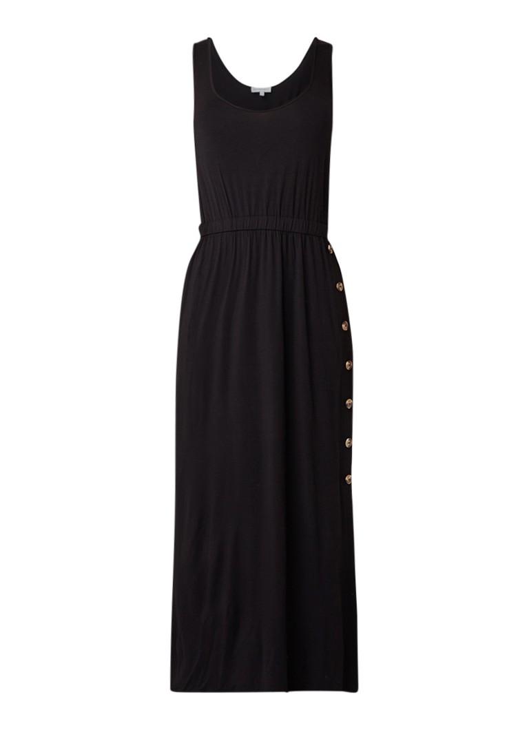 Warehouse Maxi-jurk met stretch en knoopsluiting diepzwart