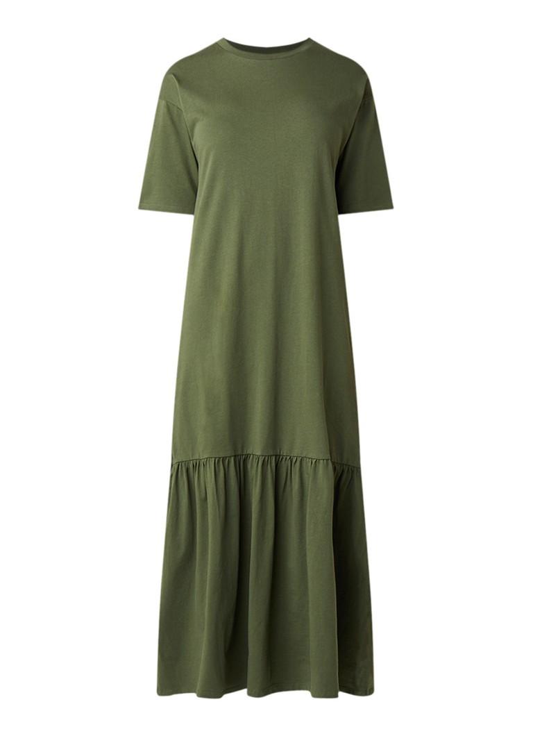 Warehouse Maxi T-shirt jurk met volant khaki