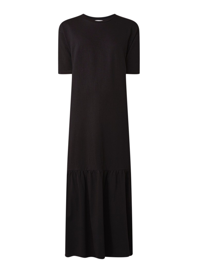 Warehouse Maxi T-shirt jurk met volant diepzwart