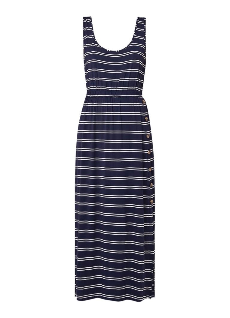 Warehouse Maxi-jurk met streepdessin en sierknopen donkerblauw