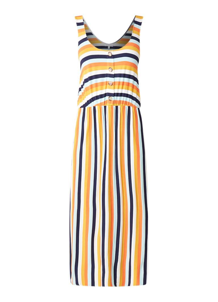 Warehouse Multi midi-jurk met streepdessin geel