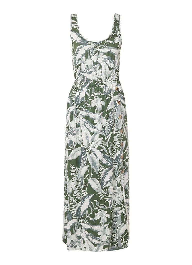 Warehouse Mouwloze maxi-jurk met dessin khaki