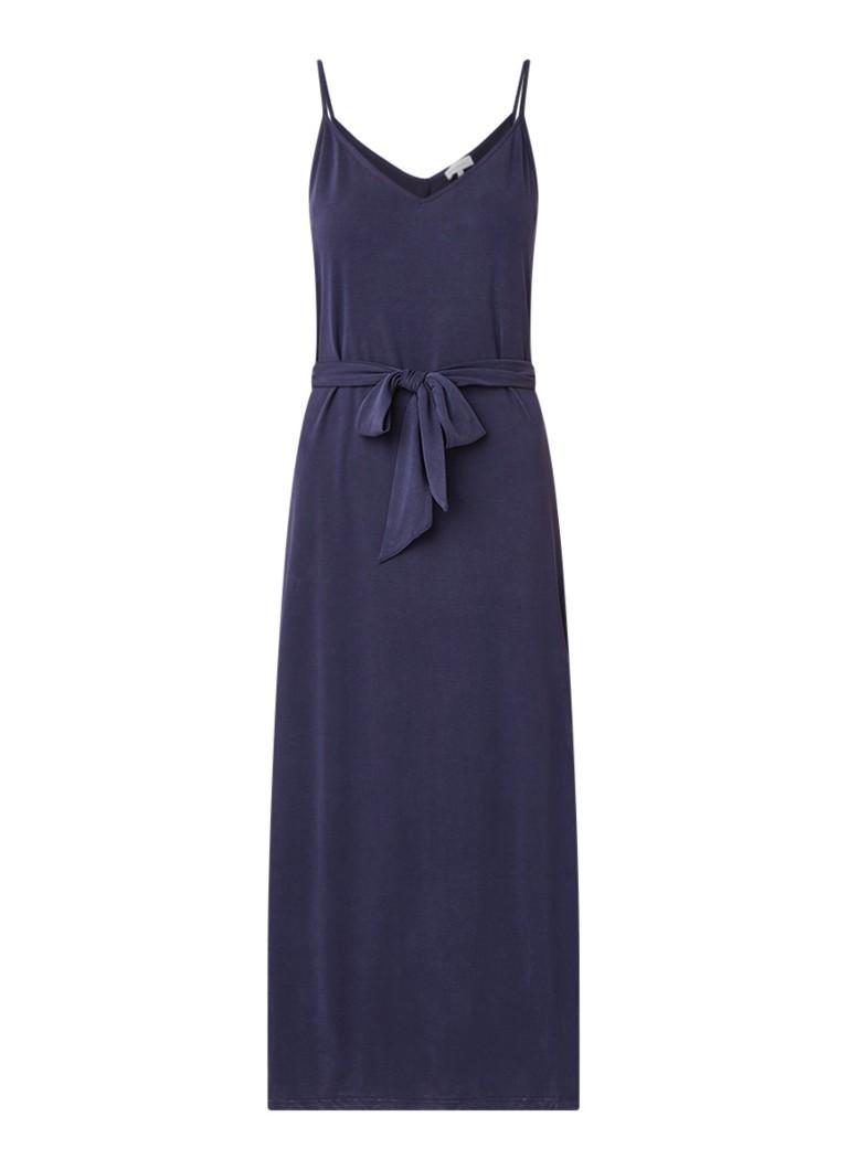 Warehouse Maxi-jurk met strikceintuur en split donkerblauw