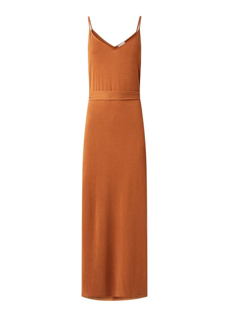 Warehouse Maxi-jurk met strikceintuur en split hazelnootbruin
