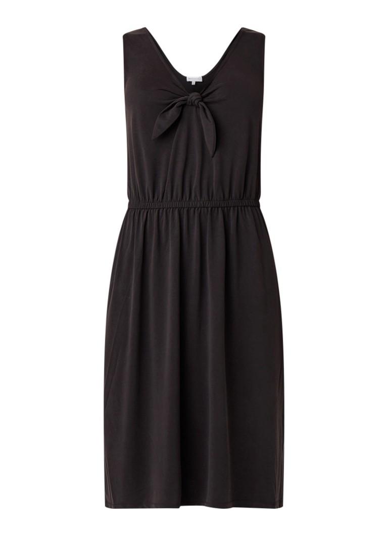 Warehouse Midi-jurk met strikdetail diepzwart