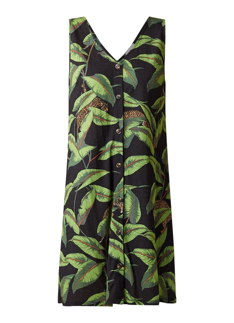 Warehouse Banana Leaf midi-jurk met bladdessin groen