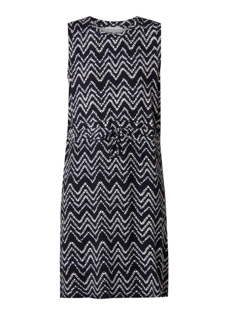 Warehouse Shibori midi-jurk van jersey met grafisch dessin donkerblauw