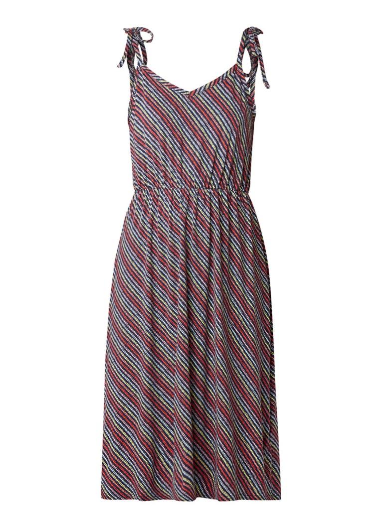 Warehouse Kuta midi-jurk van jersey met streepdessin middenblauw