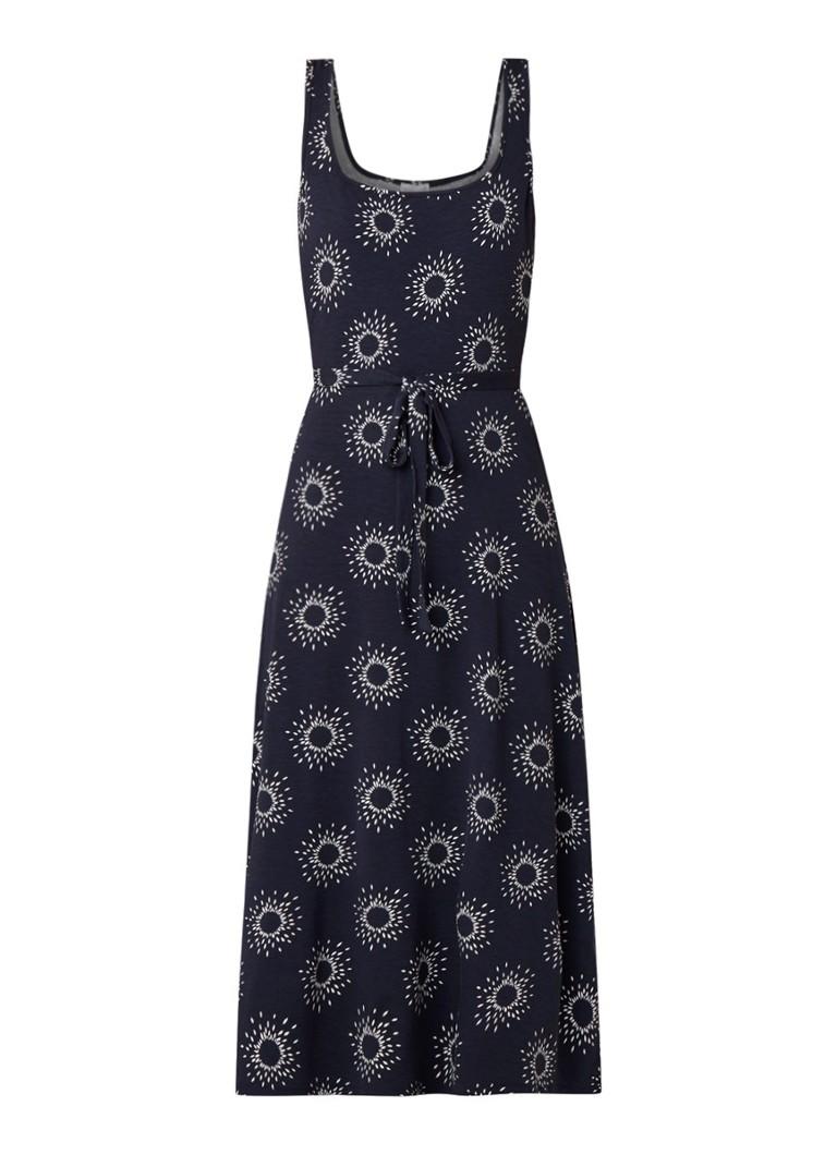 Warehouse Sun midi-jurk met dessin en strikceintuur donkerblauw