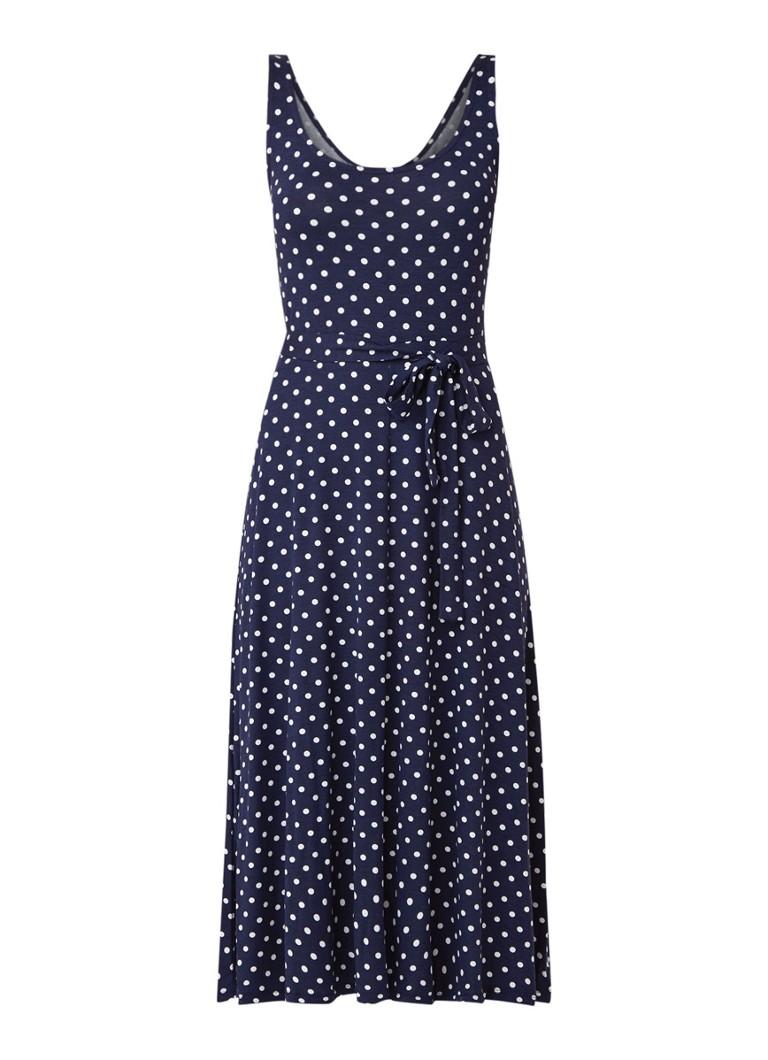 Warehouse Midi-jurk met polkadotdessin en ceintuur donkerblauw