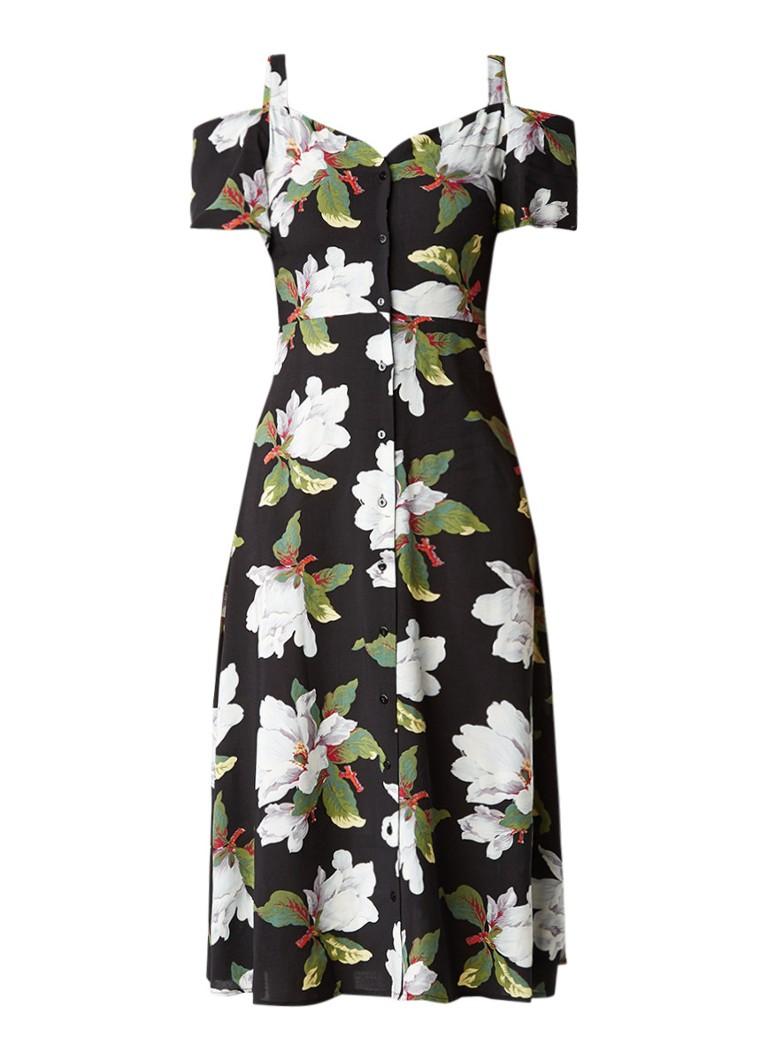 Warehouse Magnolia cold shoulder blousejurk met bloemdessin zwart