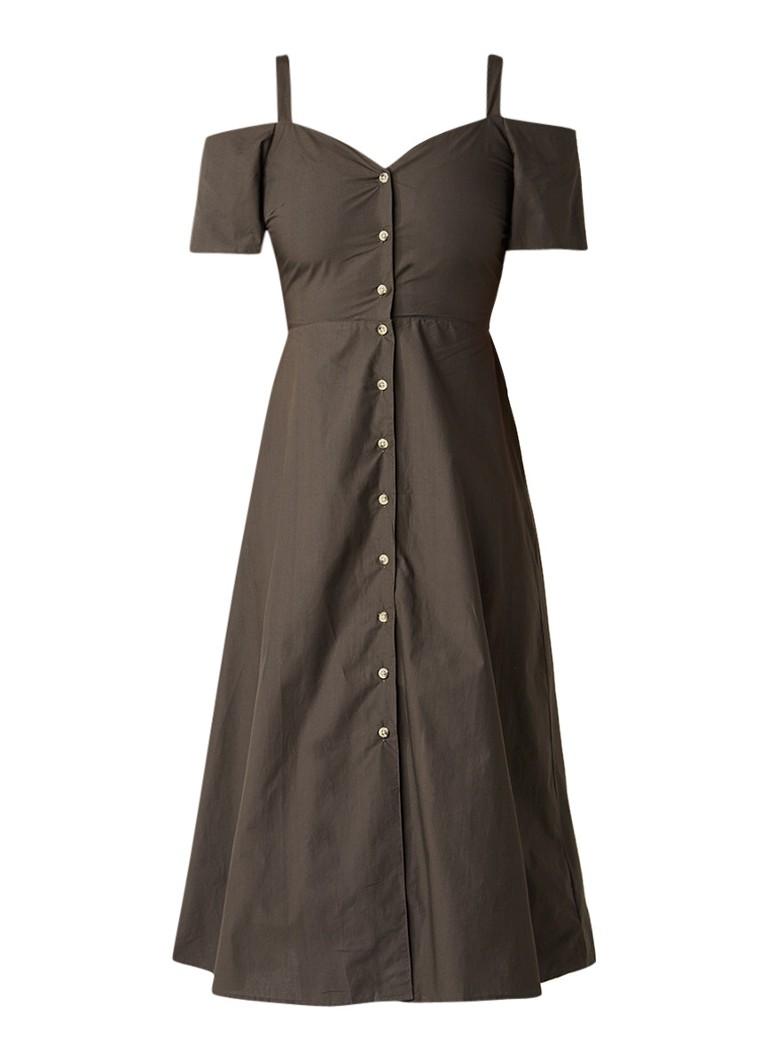 Warehouse A-lijn jurk met cold shoulder en knoopsluiting donkergroen