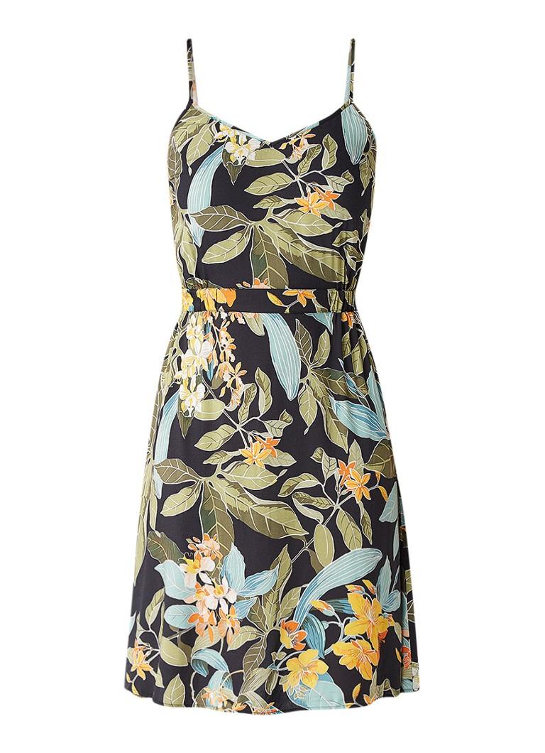 Warehouse A-lijn jurk met tropisch dessin zwart