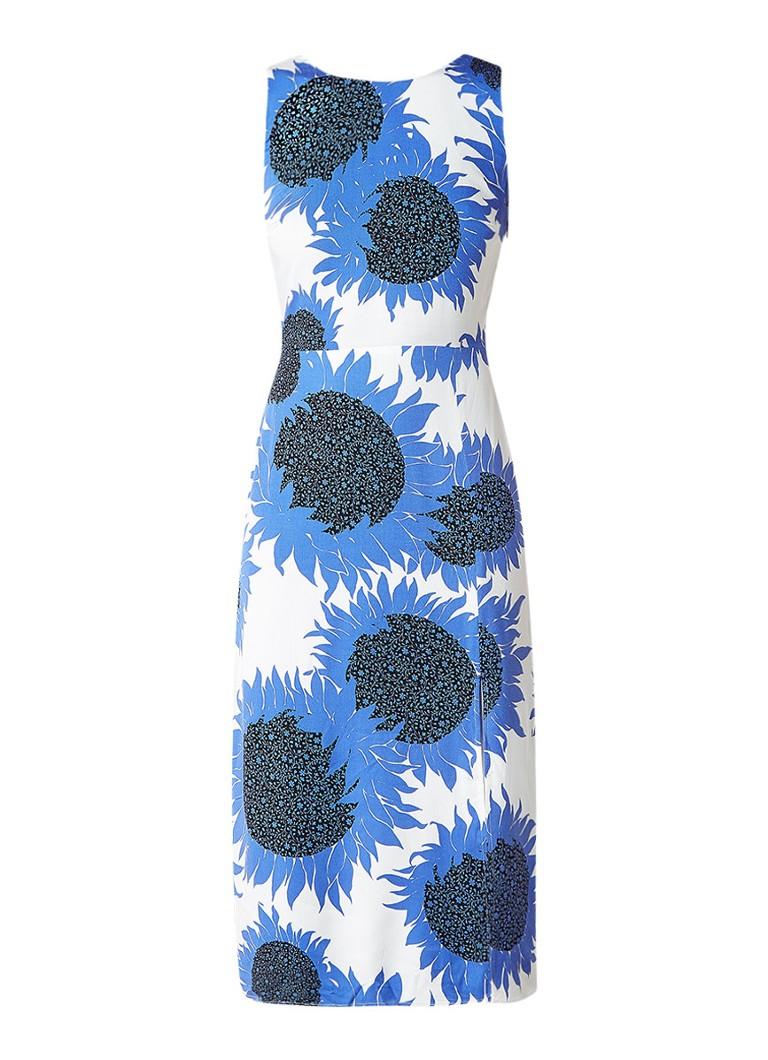 Warehouse Tuniekjurk met bloemendessin en strik op achterzijde middenblauw