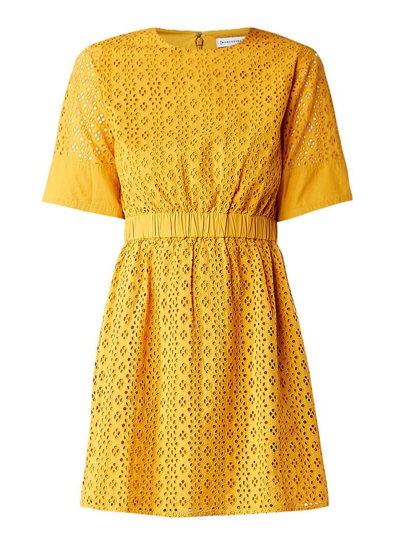 Warehouse A-lijn jurk met broderie okergeel
