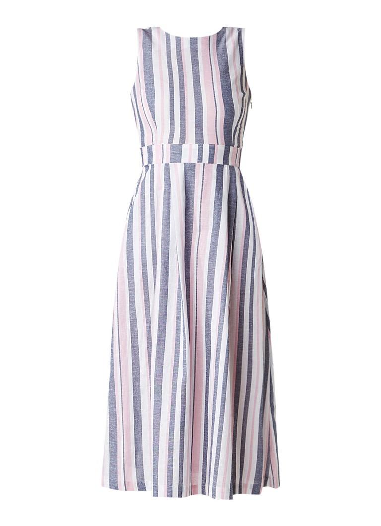 Warehouse Gestreepte midi-jurk van katoen met geknoopt rugdetail roze