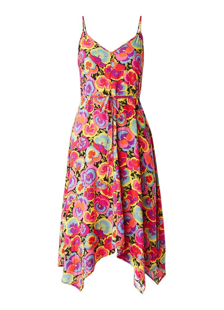 Warehouse Pansy Pop Hanky midi-jurk met bloemendessin roze