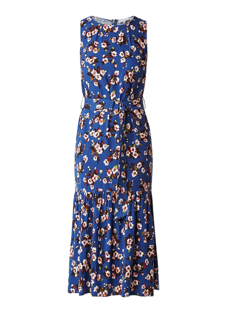 Warehouse Mae gebloemde midi-jurk met ceintuur donkerblauw