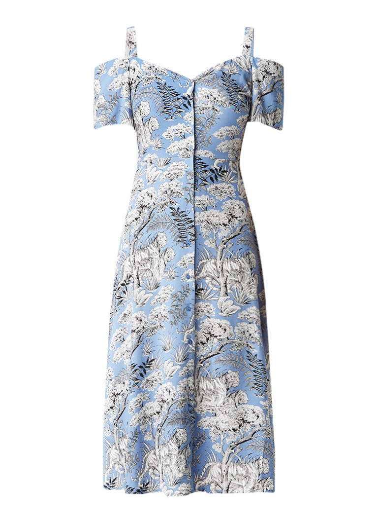 Warehouse Midi blousejurk met botanisch dessin middenblauw