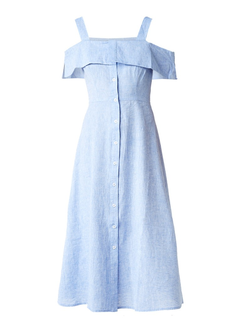 Warehouse Cold shoulder blousejurk van chambray lichtblauw