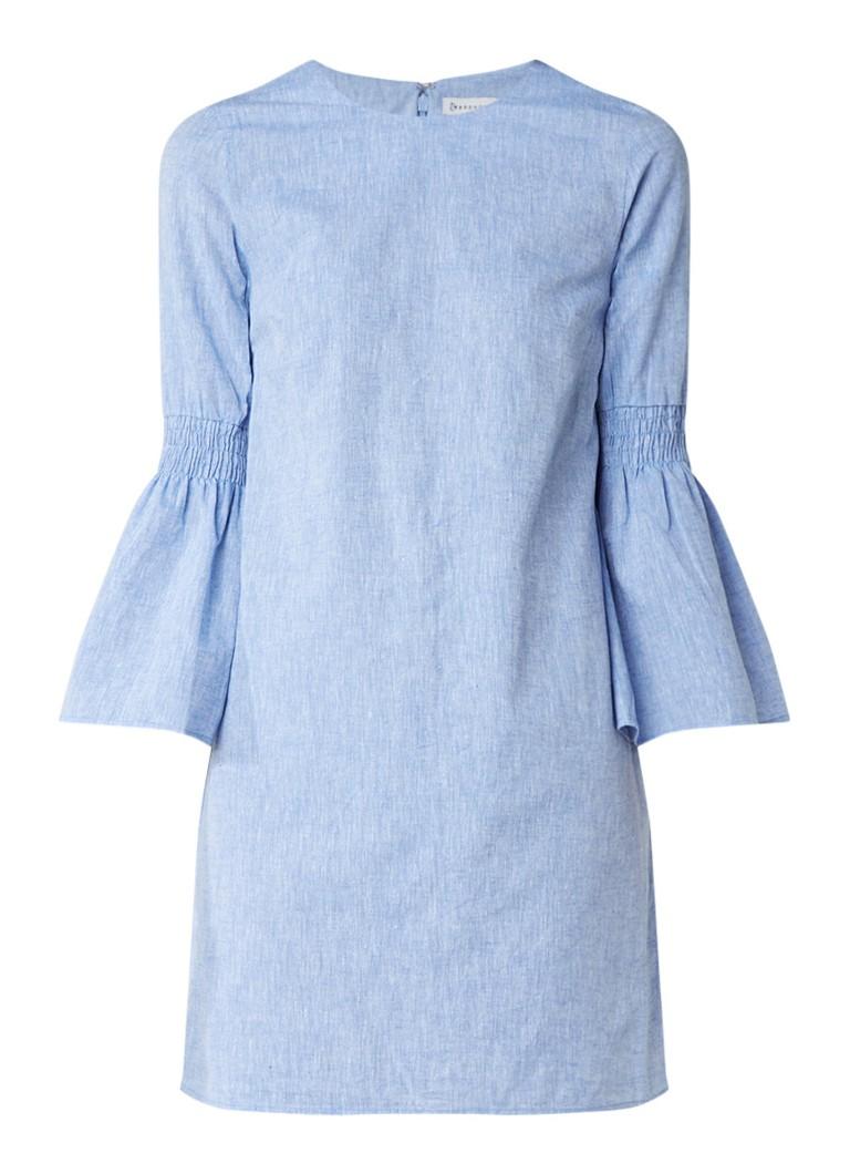 Warehouse Chambray jurk met wijde mouwen lichtblauw
