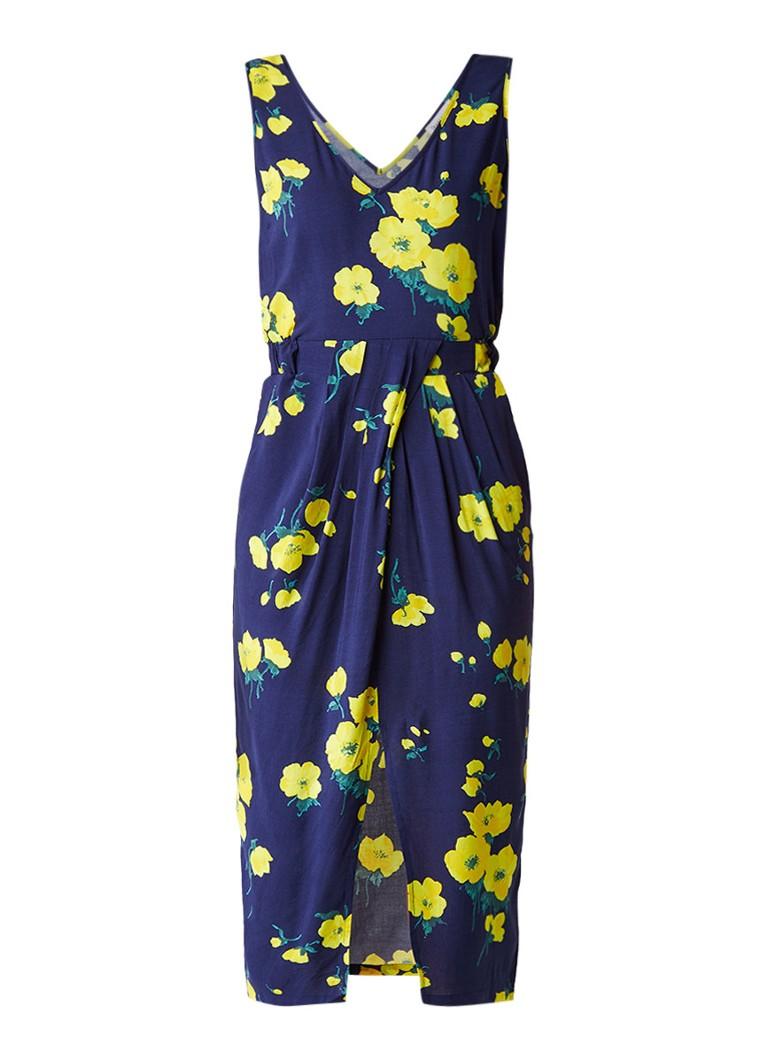 Warehouse Delia jurk met split en bloemendessin donkerblauw