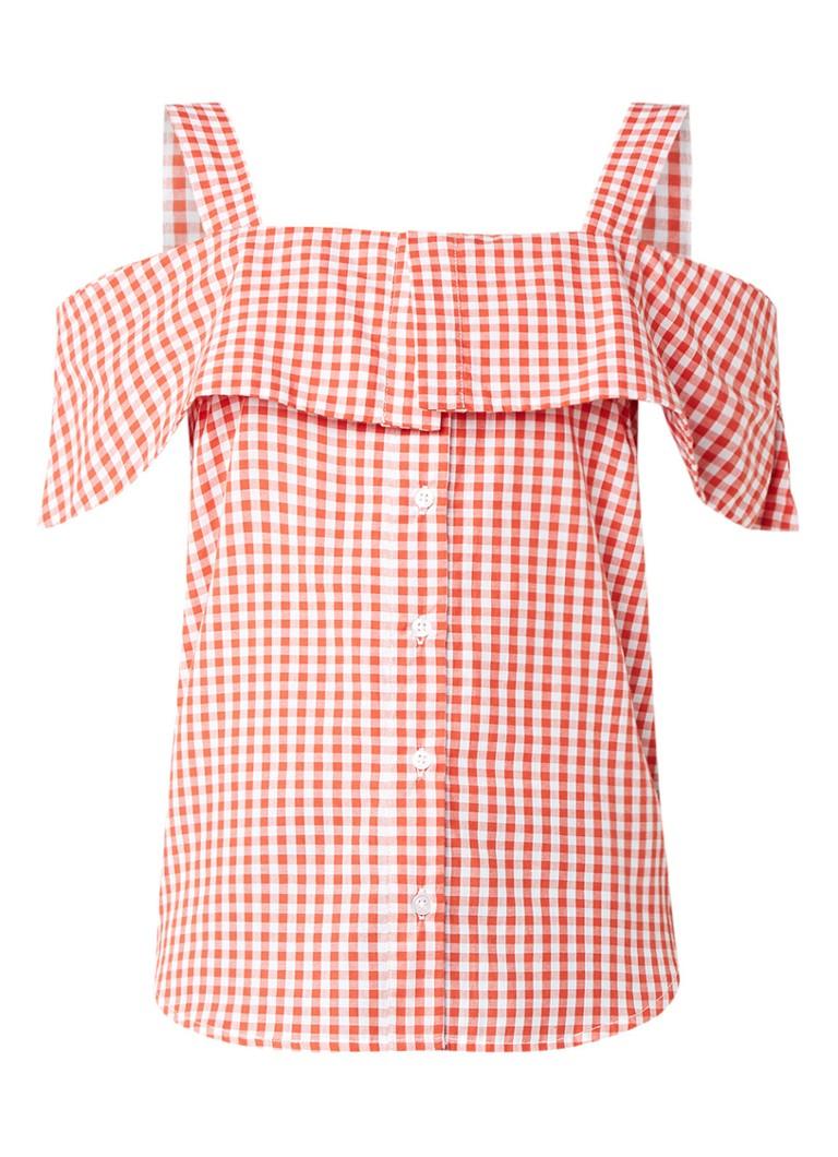 Warehouse Cold shoulder blouse met ruitdessin en volant