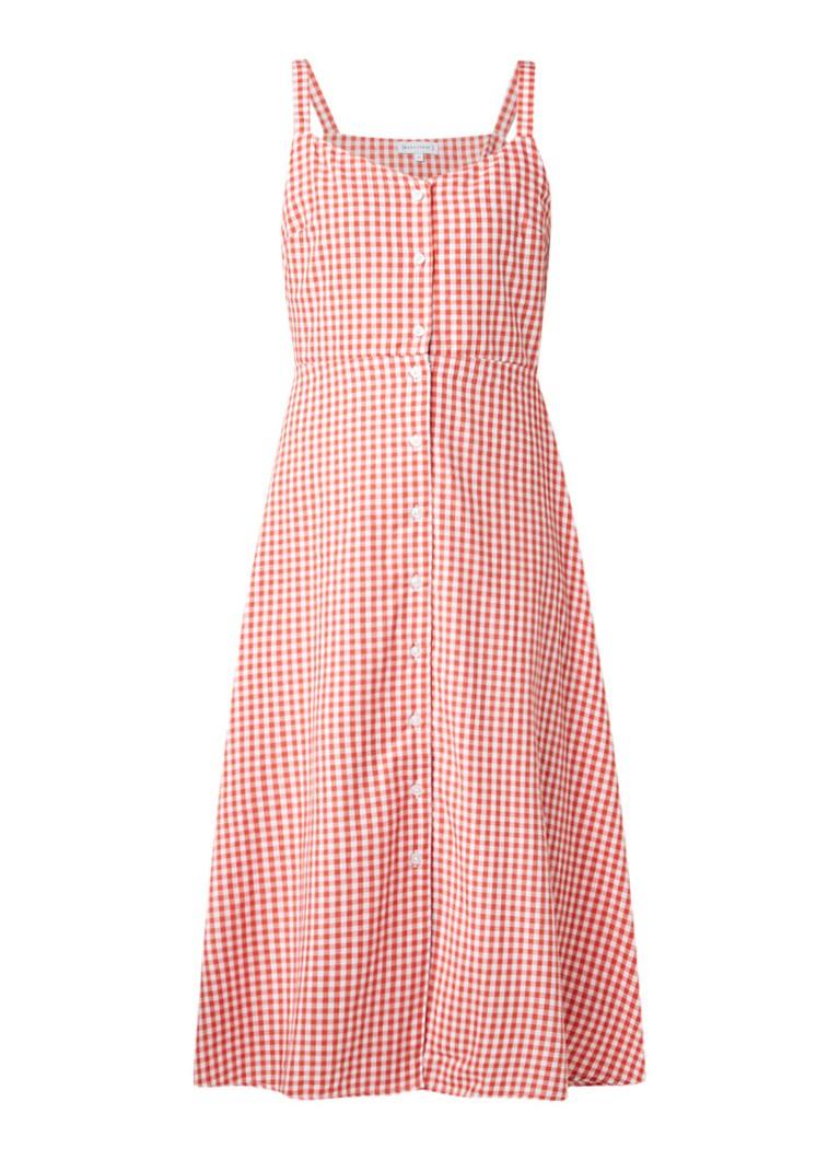 Warehouse A-lijn midi-jurk met ruitdessin rood
