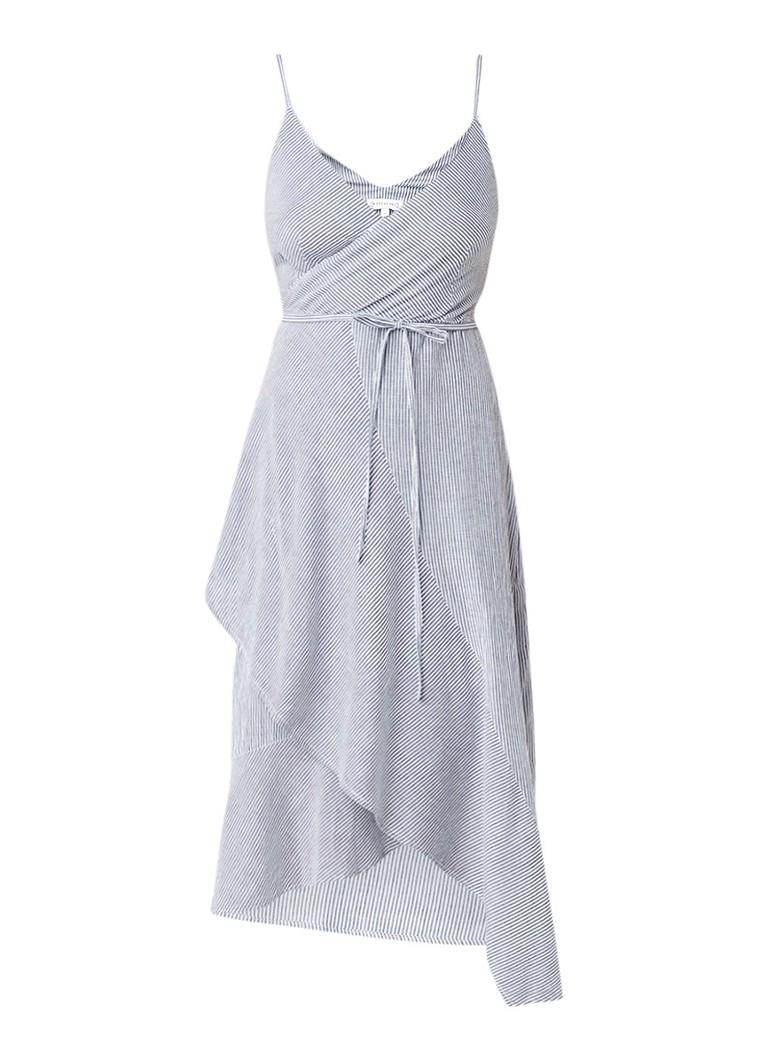Warehouse A-symmetrische jurk met streepdessin lichtgrijs
