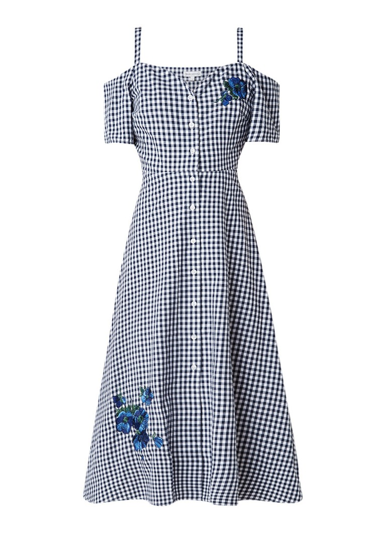 Warehouse Delia cold shoulder jurk met ruitdessin en bloemborduring zwart