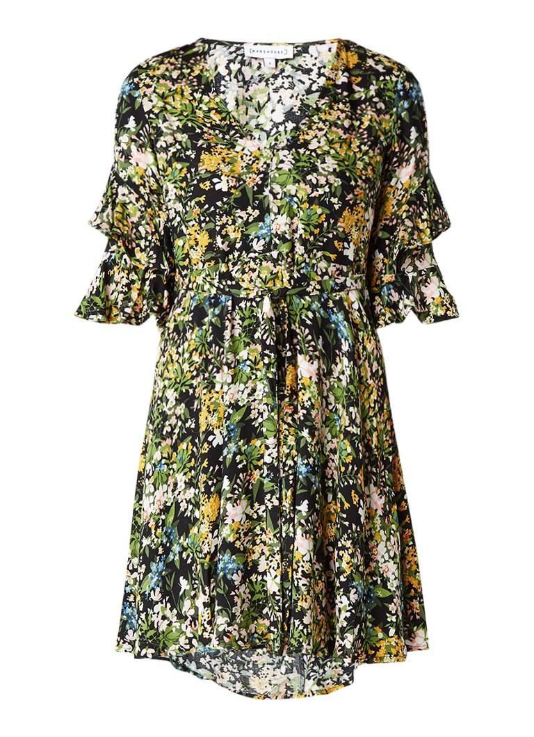 Warehouse A-lijn jurk met klokkende mouw en bloemenprint geel