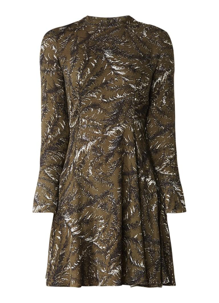 Warehouse Jersey A-lijn jurk met bladdessin mosgroen