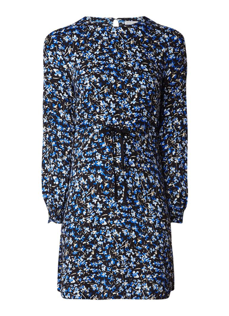 Warehouse A-lijn jurk met bloemendessin en tunnelkoord middenblauw