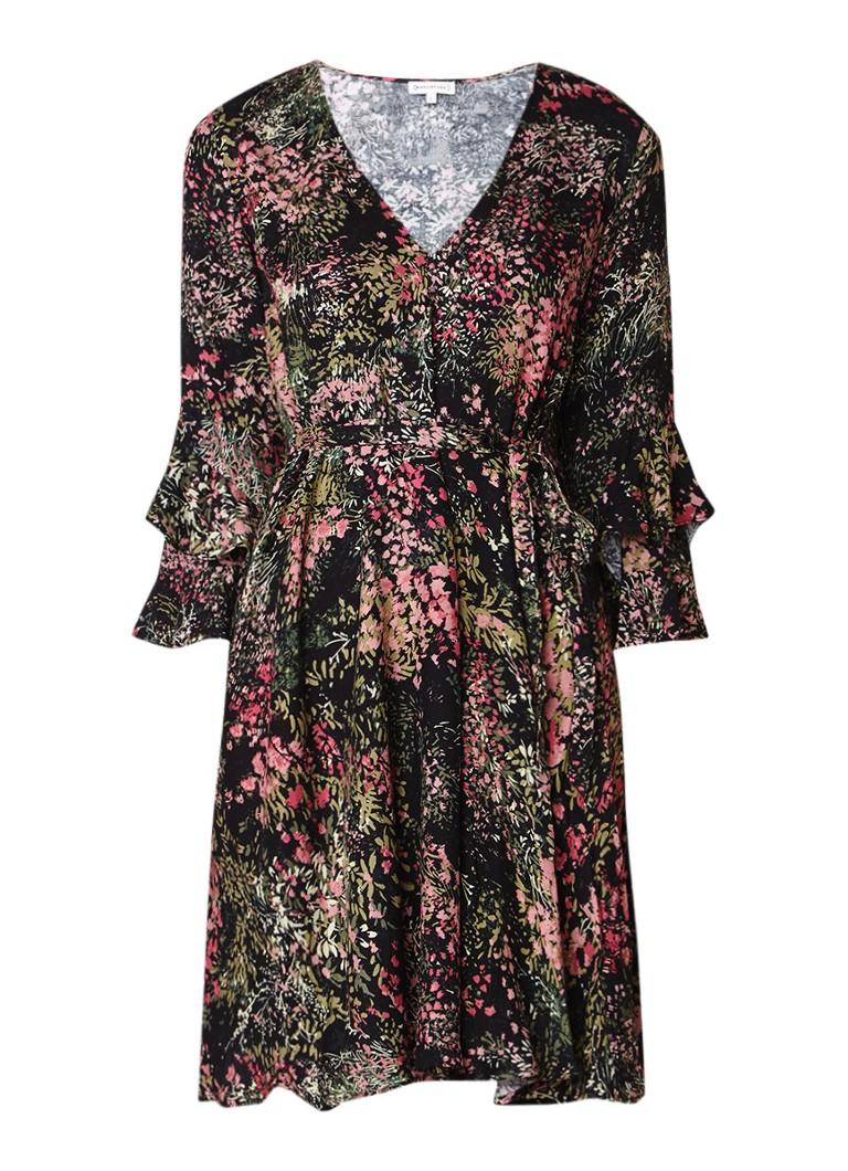 Warehouse A-lijn jurk met print en volant mouwen zwart