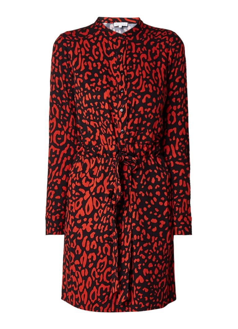 Warehouse Tuniekjurk met luipaarddessin en strikceintuur rood