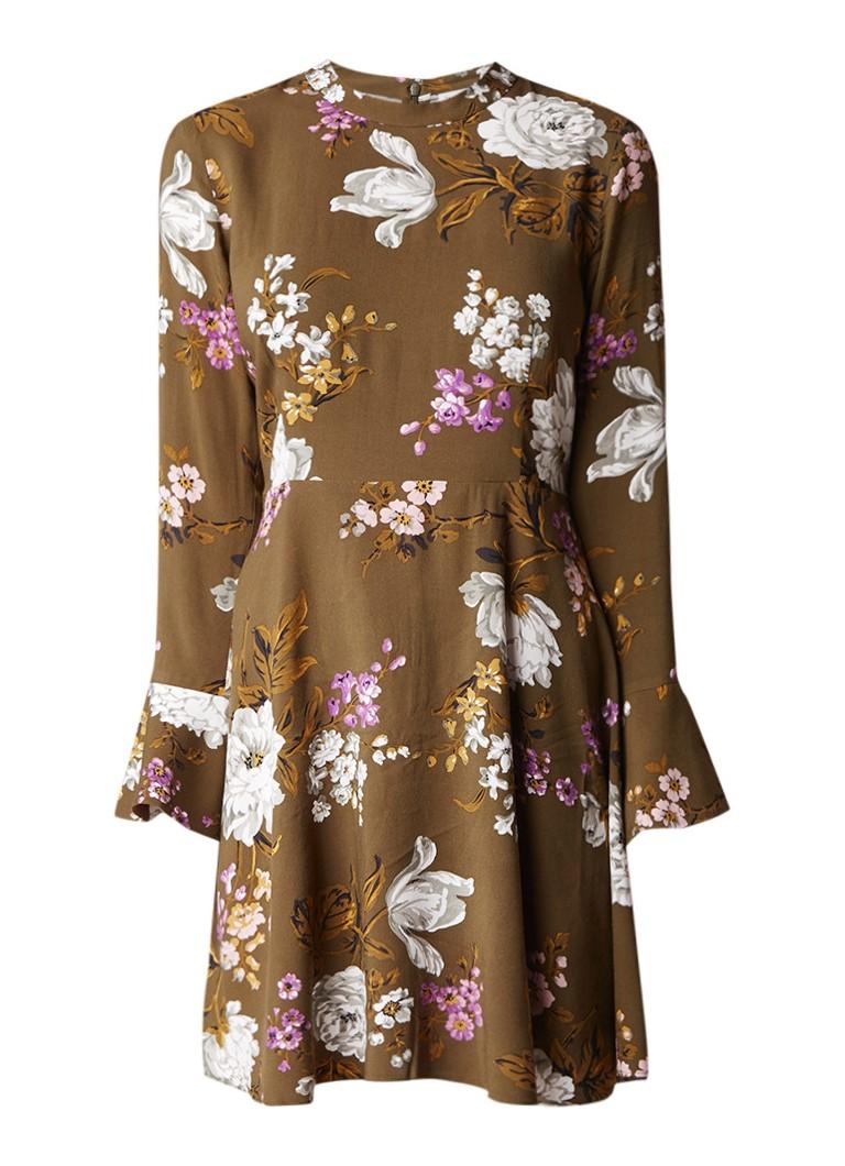Warehouse Molly A-lijn jurk met bloemendessin en trompetmouw legergroen