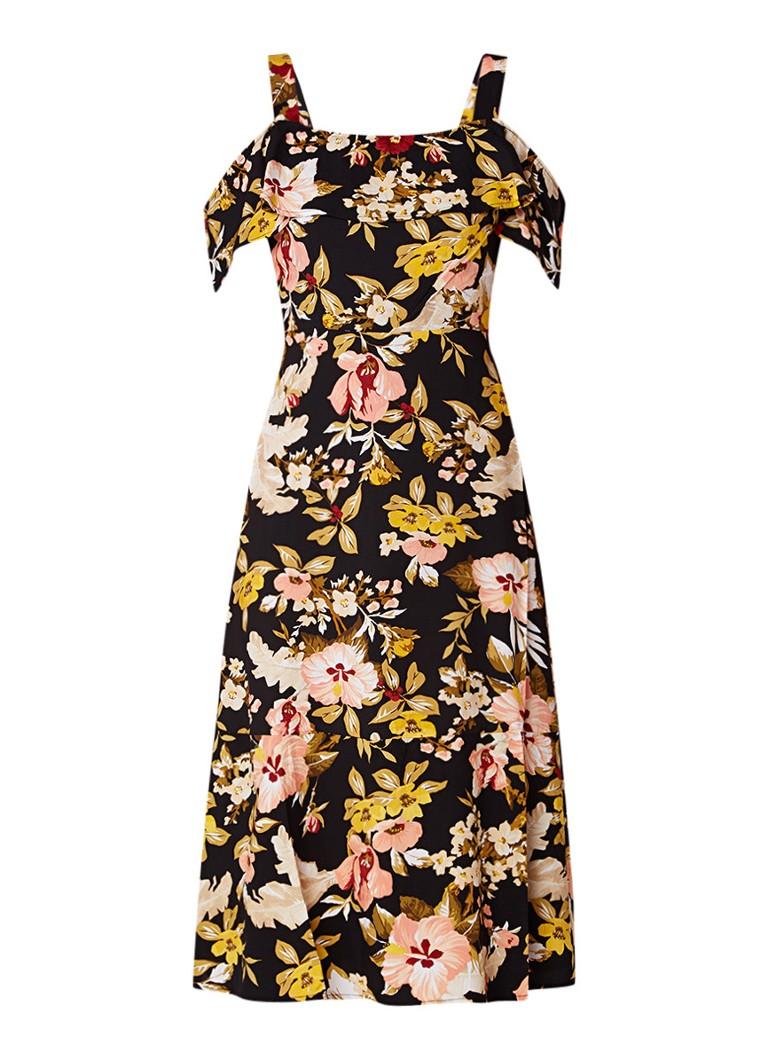 Warehouse Cold shoulder jurk met bloemendessin en ruches zwart
