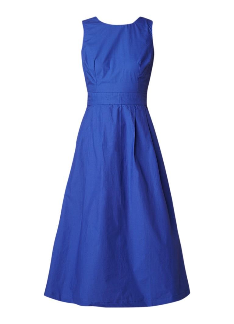 Warehouse A-lijn jurk met smockdetail en striksluiting oranjerood