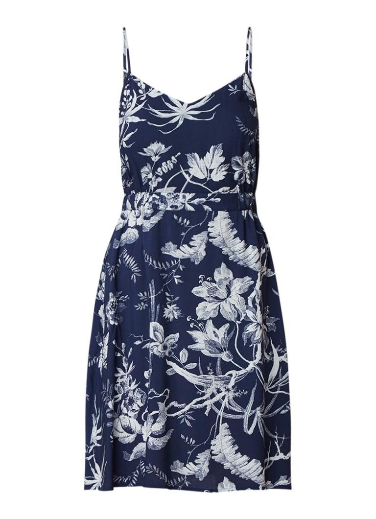 Warehouse Midi-jurk met bloemendessin en spaghettibandjes donkerblauw