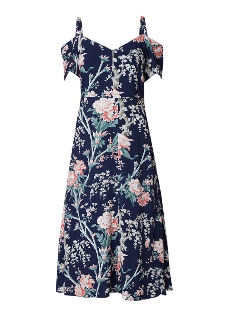 Warehouse Midi blousejurk met bloemendessin donkerblauw