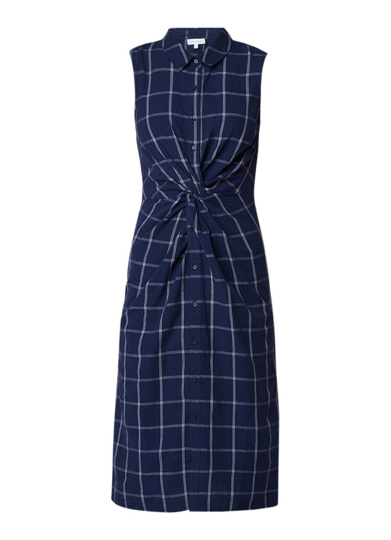 Warehouse Midi blousejurk in linnenblend met geruit dessin donkerblauw