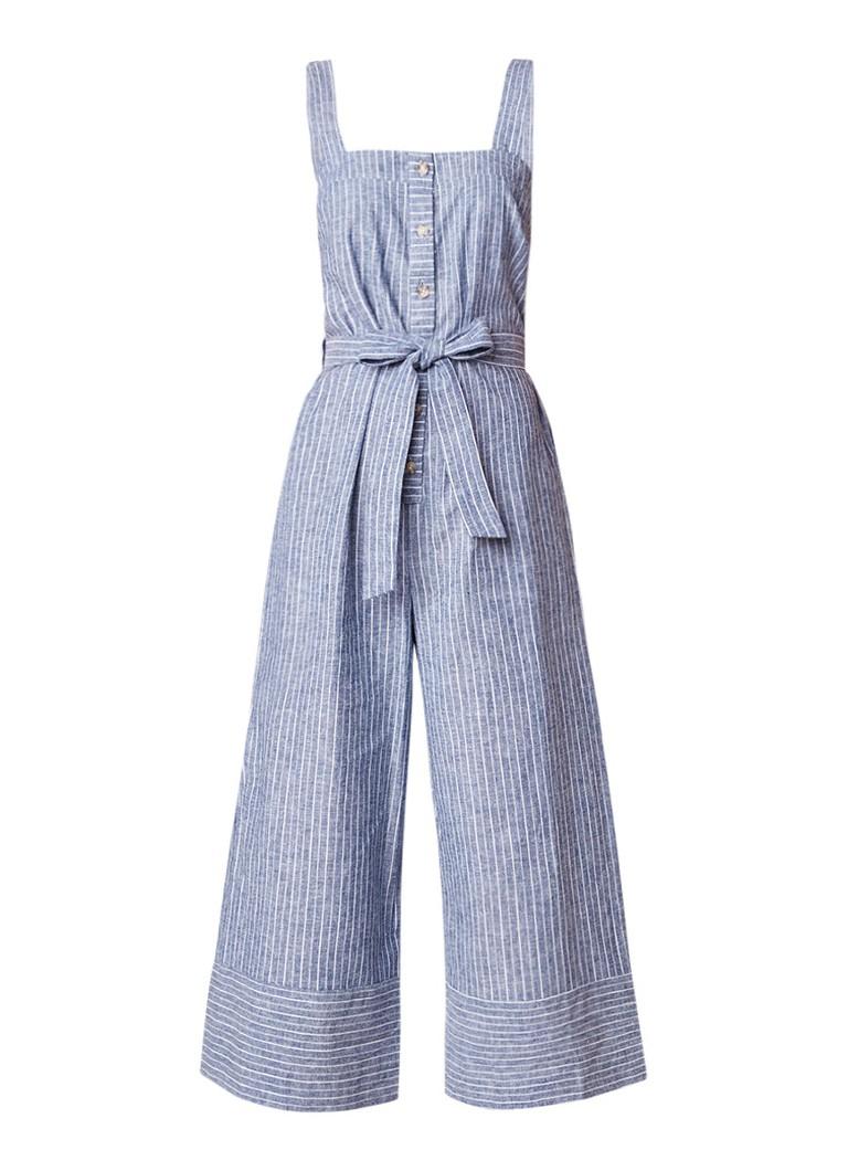 Warehouse Cropped jumpsuit van linnen met streepdessin