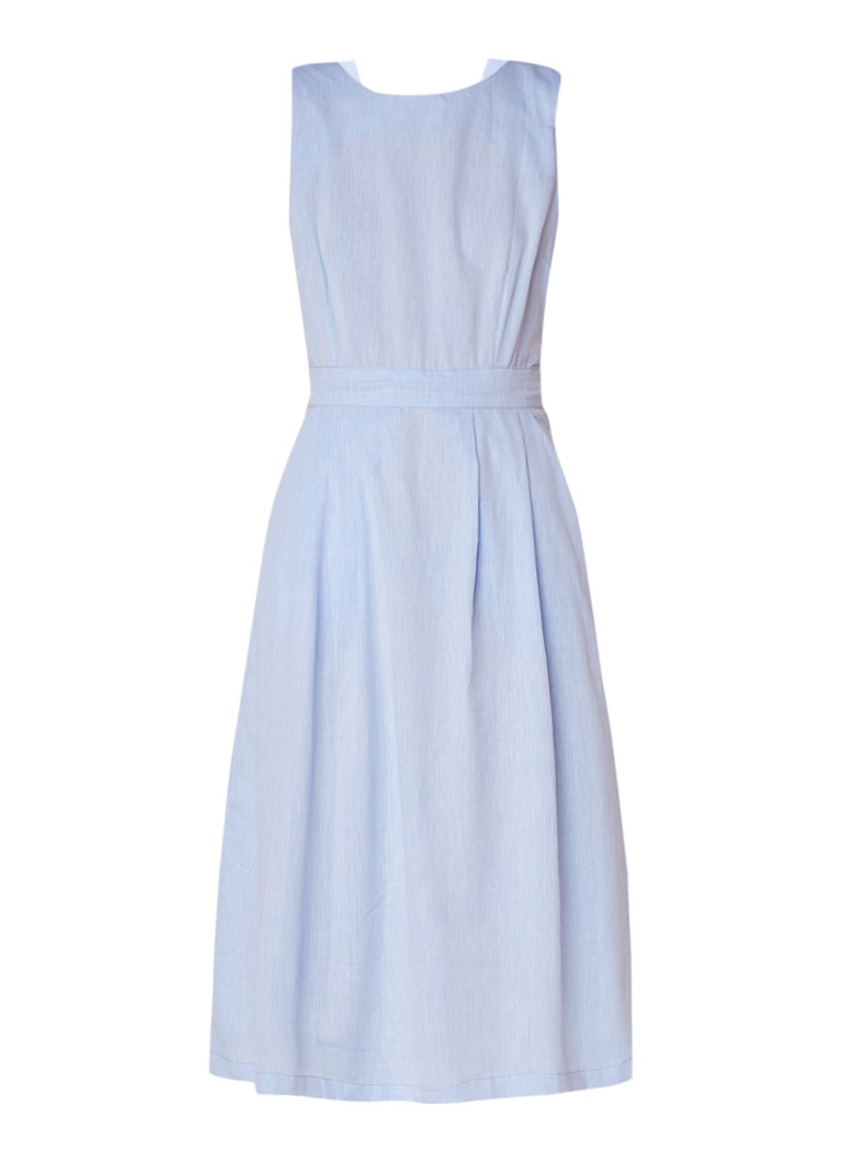 Warehouse A-lijn jurk met strikdetail en rugdecolleté lichtblauw