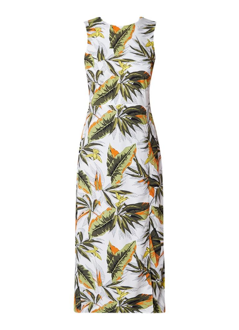 Warehouse Midi-jurk met split en palmprint mosgroen