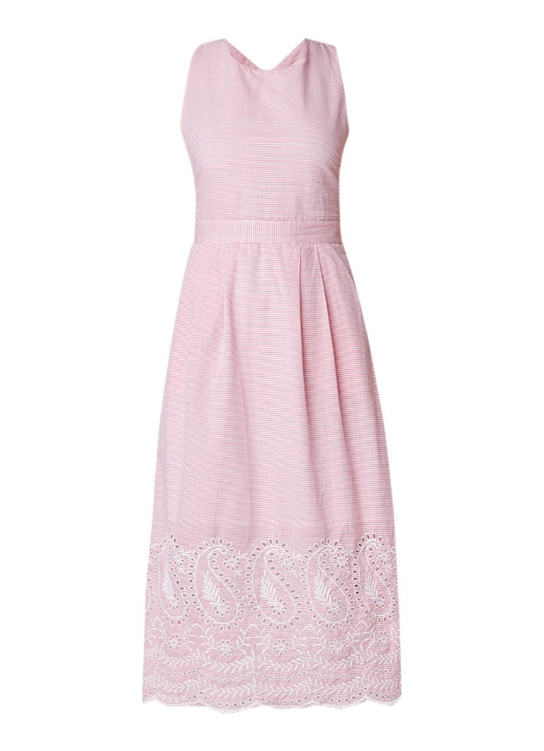 Warehouse Gestreepte cross back midi-jurk met broderie roze